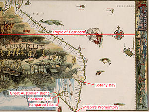 Theory of the Portuguese discovery of Australia - The Vallard map, with part of it rotated at 90 degrees, and the claimed locations by Peter Trickett in Beyond Capricorn