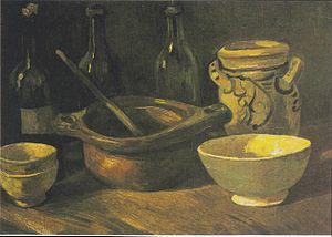 Still life paintings by Vincent van Gogh (Netherlands) - Image: Van Gogh Stillleben mit drei Flaschen und Steingut