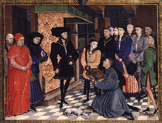 Philip the Good - Rogier van der Weyden miniature 1447-8. Philip dresses his best, in an extravagant chaperon, to be presented with a History of Hainault by the author, Jean Wauquelin, flanked by his son Charles and his chancellor Nicolas Rolin.