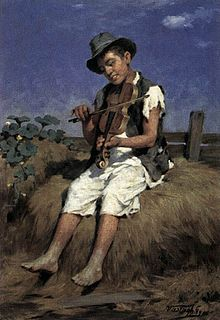 Painting of a boy sitting on a haystack and playing a violin