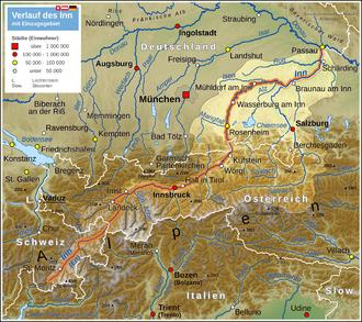 Inn (river) - Map highlighting the Inn