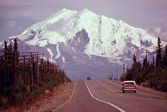 Mount Drum - Eastbound travelers along the eastern reaches of the Glenn Highway enjoy prominent views of Mount Drum.  This photo was taken in the Glennallen vicinity in 1974.