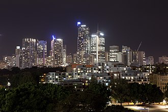 Glebe, Sydney - The Darling Harbour skyline at night from Glebe