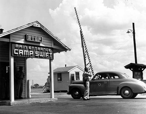 Camp Swift entrance during World War II View of the Main Entrance at Camp Swift Texas, August 6, 1944.jpg