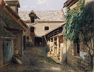 Village courtyard in France