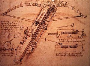 Biblioteca Ambrosiana - Leonardo da Vinci Crossbow sketch, Codex Atlanticus