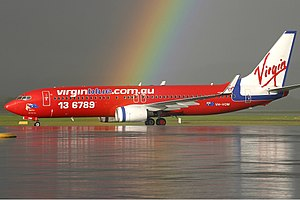 Virgin Australia - Boeing 737-800 in the old Virgin Blue red livery at Perth Airport in 2004