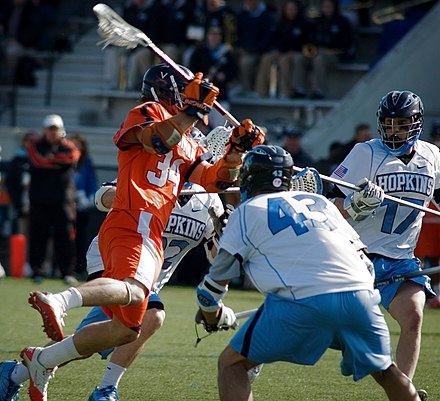UVA lacrosse has won 11 national championships, including 9 national titles since NCAA oversight began. Virginia-UVA-Johns-Hopkins-lacrosse.jpg