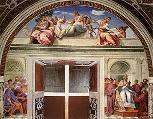 Cardinal and Theological Virtues (Raphael) - Image: Virtù e due scene 02