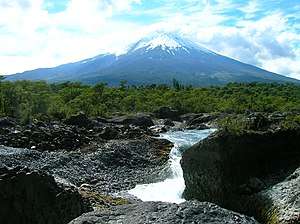 Vicente Pérez Rosales National Park - Petrohué Waterfalls and the Osorno volcano