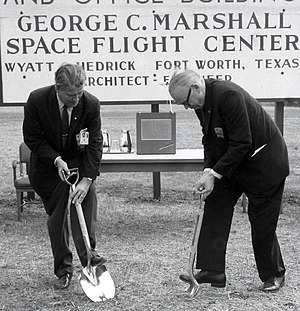 Robert S. Kerr - Wernher von Braun and Kerr, a chairman of the Senate Committee on Aeronautical and Space Sciences, break ground for Marshall Space Flight Center's new Central Laboratory and Office Facility in 1961.