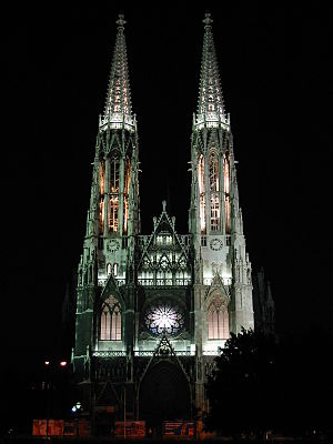 Votive Church, Vienna - Votive Church in Vienna at night