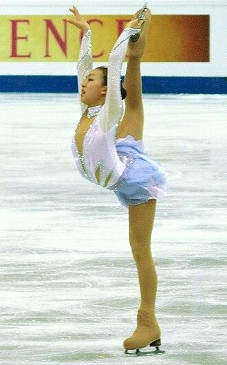 Mao Asada - Asada does a cross-grab Biellmann spiral during her short program at the 2008 Worlds.
