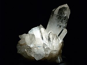 Houston Museum of Natural Science - Quartz crystal from Hot Springs, Arkansas, on display.
