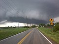 Wall cloud visible west of Troy in Lincoln County, Missouri.jpg