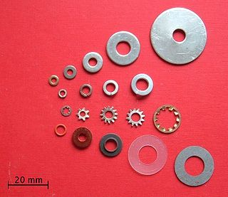 Washer (hardware) Thin plate with a hole, normally used to distribute the load of a threaded fastener