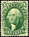 Washington stamp 10c green 1857 issue.JPG