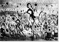 Caricatura de Wilde publibicada en el periódico The Wasp de San Francisco con motivo de la visita del artista a Estados Unidos en 1882