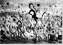 A Satirical cartoon shows a dandy figure, fancily dressed in a long coat and breeches, floating across the crowd in a tightly packed ballroom.