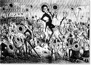 Keller cartoon from the Wasp of San Francisco depicting Wilde on the occasion of his visit there in 1882.