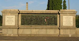 Soviet Military Cemetery, Warsaw - Dedication on the right-hand side.