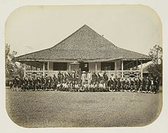 Wedono of Banjaran near Bandung with His Following in Front of His House WDL2909.jpg