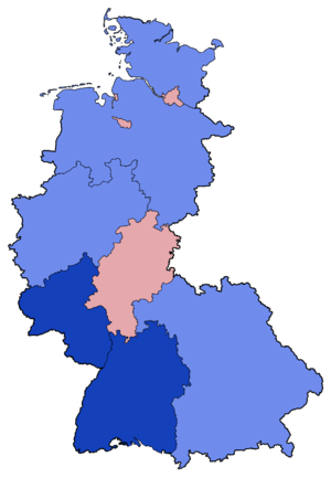 West German federal election, 1953 - Image: West German Federal Election Party list vote results by state 1953