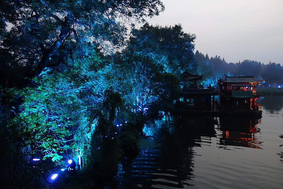 West Lake at night in Hangzhou
