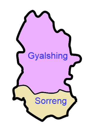 A clickable map of West Sikkim exhibiting its two subdivisions.