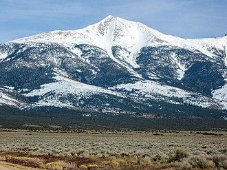 Wheeler Peak (Nevada) - Wheeler Peak, looking east-southeast in late afternoon light