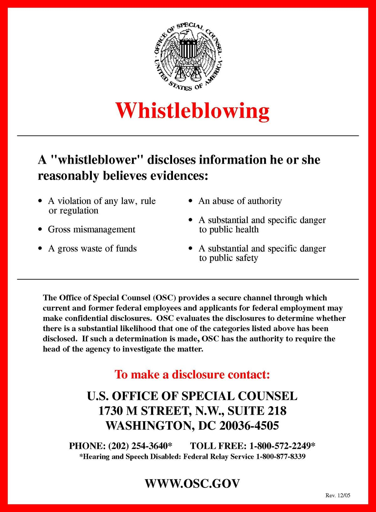 whistleblower protection in the united states