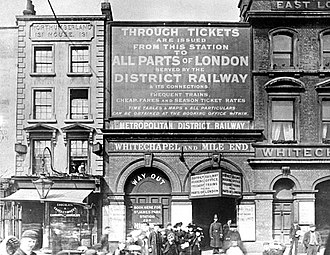 "Whitechapel station - The station in 1896, as ""Whitechapel and Mile End""."