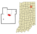 Whitley County Indiana Incorporated and Unincorporated areas Columbia City Highlighted.svg