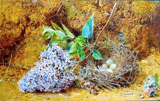 William Henry Hunt, Bird's Nest and Lilac Blossom, c. 1850-55
