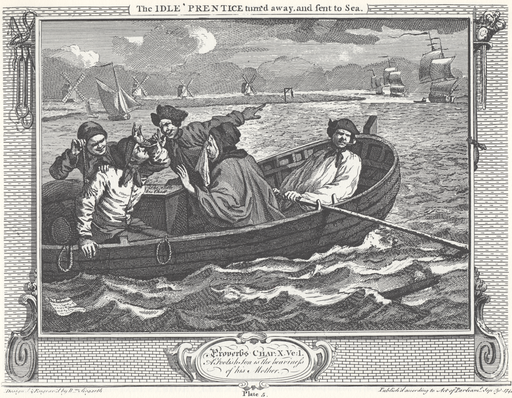 William Hogarth - Industry and Idleness, Plate 5; The Idle 'Prentice turn'd away, and sent to Sea