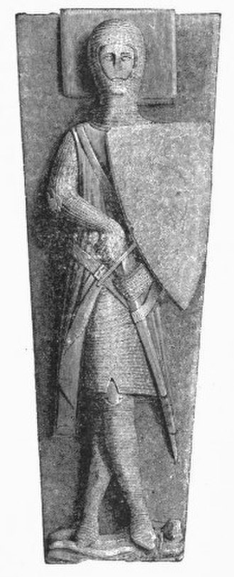"Escutcheon (heraldry) - Effigy of William II Longespee (d.1250) in Salisbury Cathedral, showing an early triangular heater shield, the shape used as the ""canvas"" for the display of arms during the classical age of heraldry"
