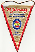 Pennant for 20th anniversary of the working class combat group 1973 Rbd Schwerin 1973.jpg