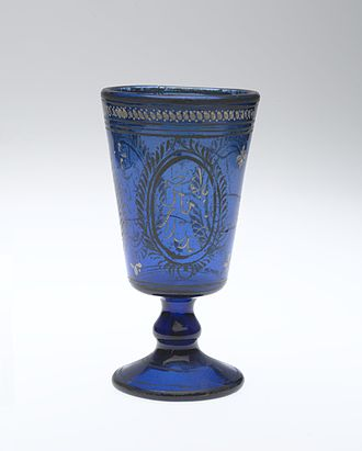 Glass - Wine goblet, mid-19th century. Qajar dynasty. Brooklyn Museum.