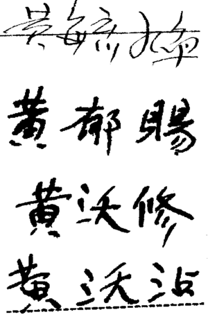 United States v. Wong Kim Ark - Signatures, on various U.S. immigration documents, of Wong Kim Ark's four sons: Wong Yoke Fun (黃毓煥); Wong Yook Sue (黃郁賜); Wong Yook Thue (黃沃修); and Wong Yook Jim (黃沃沾)