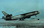 World Airways DC-10 setting on its tail because of weight of Mt. Pinatubo ashfall.jpg