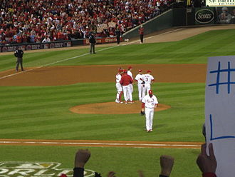 Chris Carpenter - Carpenter being relieved in the top of the 7th, Game 7 of the 2011 World Series.