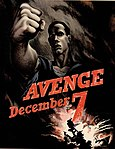 "World War II poster with US Navy sailor and exploding ship in Pearl Harbor, Hawaii entitled ""Avenge December 7"" (cropped).jpg"