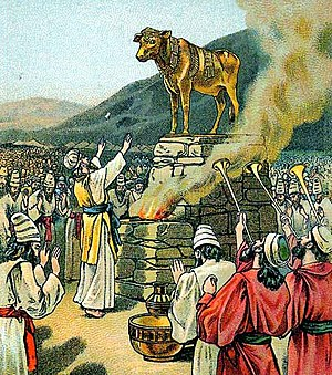 Tazria -  Worshiping the golden calf (illustration from a 1901 Bible card published by the Providence Lithograph Company)
