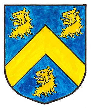 Clearwell - Arms of Wyndham: Azure, a chevron between three lion's heads erased or