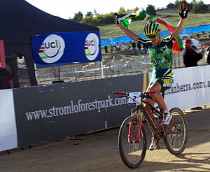 Cross-country cycling - South African Burry Stander winning on a dual-suspension Specialized.