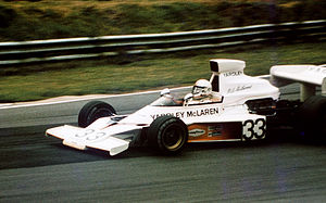 McLaren M23 - Mike Hailwood driving a Yardley-liveried McLaren M23 at Brands Hatch in 1974