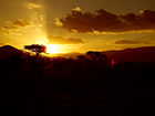 Sunset at Tsavo East National Park mostly located in Kitui County