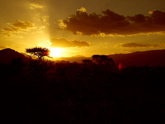 Kitui County - Sunset at Tsavo East National Park mostly located in Kitui County