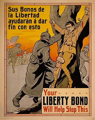 The Crucified Soldier - American propaganda poster from the Philippines depicting the crucified soldier