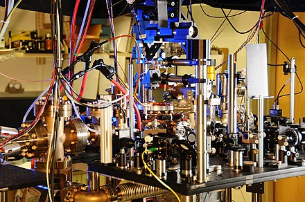 One of NIST's 2013 pair of ytterbium optical lattice atomic clocks. Ytterbium Lattice Atomic Clock (10444764266).jpg